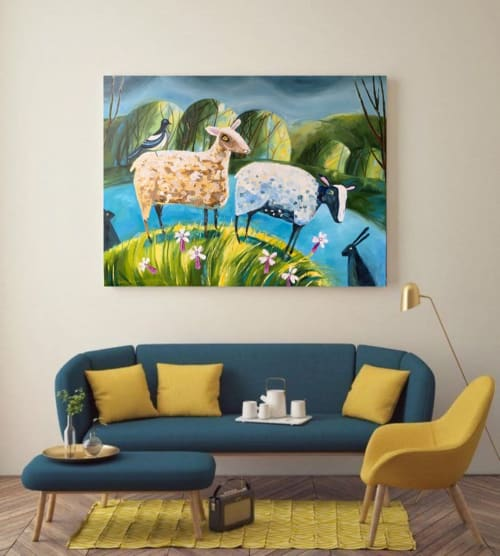 Paintings by Yuliia Zvetkova seen at Private Residence, Kyiv - Sheeps Painting