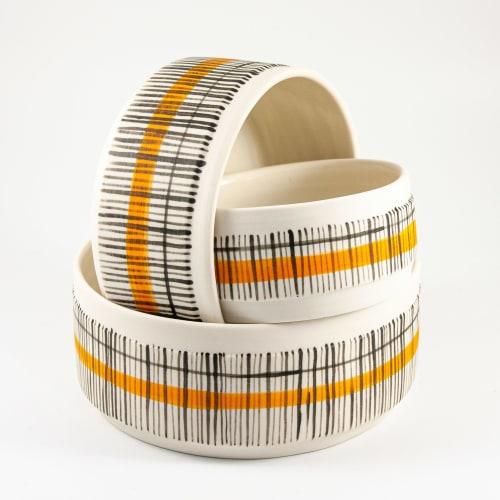 Porcelain dishes and jug in 'Reeds' design | Ceramic Plates by Kyra Mihailovic Ceramics