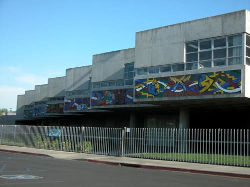 Murals by Trace 'Tres' Fukuhara seen at Mary Butler School, Long Beach - Tapestry of Knowledge