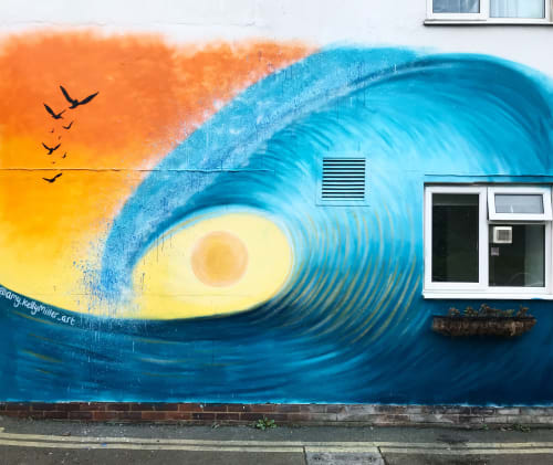 Murals by Amykm.art seen at Ronald McDonald House Brighton, Kemptown - Awesome wave