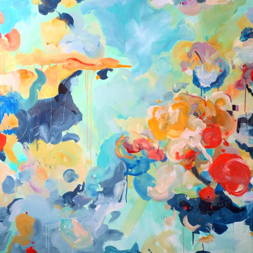 Paintings by Nino Yuniardi seen at Private Residence, Woodinville - Garden of berries, blobs, and Huggies