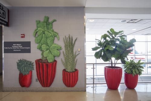 Wall Hangings by Kay Healy seen at Philadelphia International Airport, Philadelphia - Container Plants