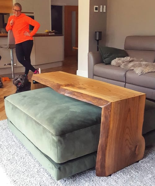 Benches & Ottomans by Handmade in Brighton seen at Private Residence, Tonbridge - English Elm Double Cascade Ottoman