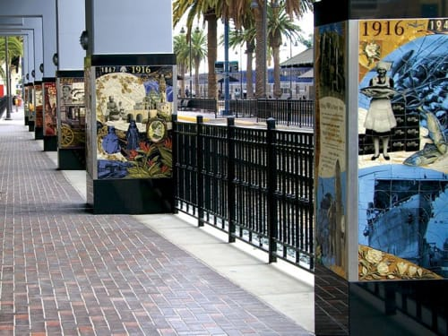 Murals by Betsy K. Schulz seen at Sapphire Tower, San Diego, CA, USA, San Diego - The Tracks We Leave Behind