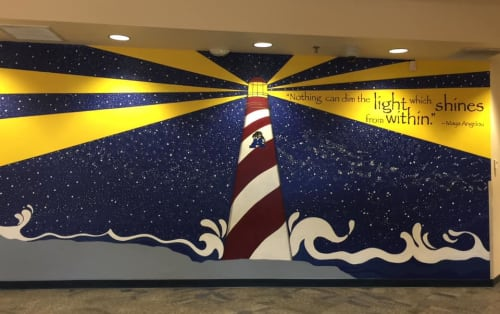 Murals by Suzanne Whitaker seen at Kyrene Altadena Middle School, Phoenix - Leadership Quotes Mural