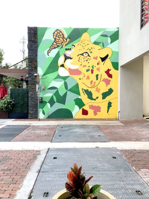 Murals by Sofia del Rivero seen at Jaguar Restaurant   Latin American Habitat, Miami - Jaguar Mural