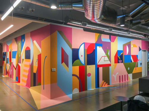 Murals by Muzae Sesay seen at Facebook HQ, Menlo Park - Lumley Beach