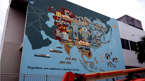 Street Murals by Lab Six Five seen at HSL Constructor Pte Ltd, Singapore - A Better World