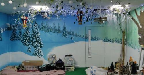 Murals by Neil Wilkinson-Cave seen at Riverside Hub, Riverside Park - Winter Room mural