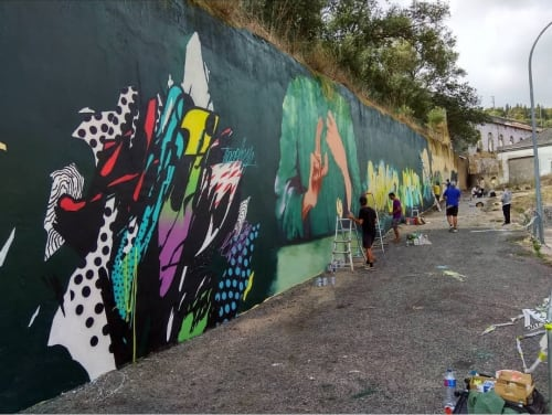 Murals by Tiago Hesp seen at Rua Fábrica da Pólvora, Lisboa - Wall mural