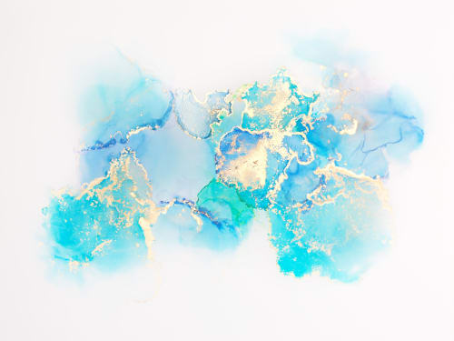 Paintings by Pastel Creative Studio seen at Private Residence, Chicago - Blue Ink Abstraction