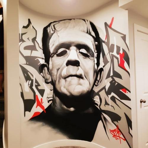 Murals by SRIL ART seen at Private Residence, Salt Lake City - Frankenstein