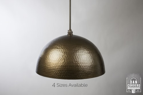 Pendants by Dan Cordero seen at 1460 W Chicago Ave, Chicago - Hammered Oil Rubbed Bronze Dome Pendant Light Fixture