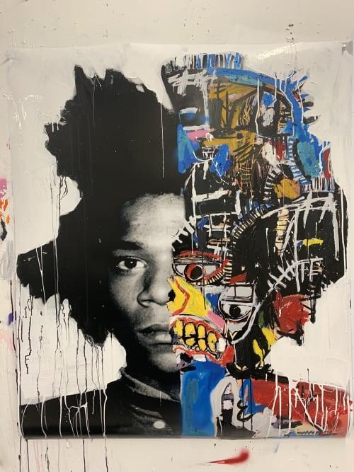 Macrame Wall Hanging by Andrew Cotton Art 100% COTTON seen at MASS District, Fort Lauderdale - Jean-Michel Basquiat Split Portrait