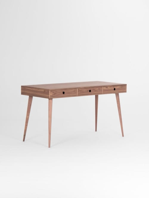 Mid century modern, walnut desk with three drawers   Tables by Mo Woodwork