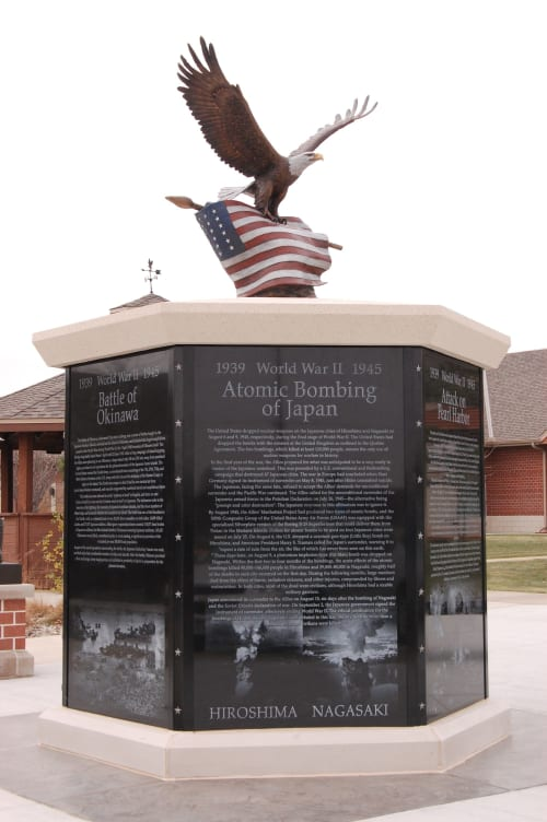Public Sculptures by Sutton Betti at Norfolk Veterans Home, Norfolk - Bald Eagle with WWII era American Flag