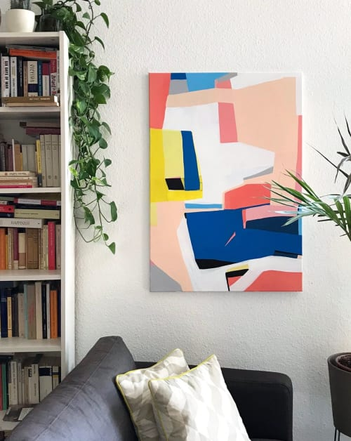 "Paintings by Jilli Darling seen at Private Residence, Berlin - ""Factory by the Docks"" original painting"