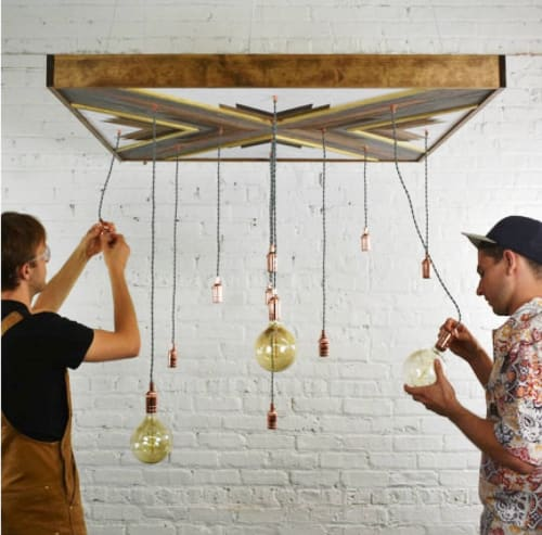 Chandeliers by Sweet Home Wiscago at Hangout Lighting, Chicago - Wood Art Chandelier