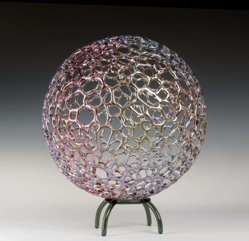 Sculptures by Bandhu Dunham seen at Private Residence, Alexandria - Rainbow Mottled Sphere