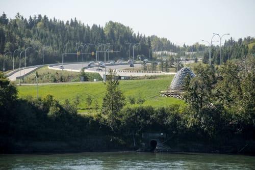 Public Sculptures by Benjamin Ball seen at Quesnell Bridge, Edmonton - Talus Dome