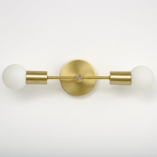 Sconces by Spark & Bell seen at Private Residence, Brighton - Brass Double Arm Wall Light
