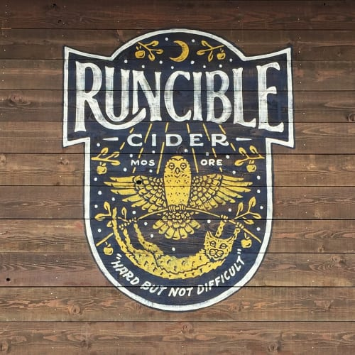 Signage by J&S Signs seen at Runcible Cider, Mosier - Runcible Cider Sign