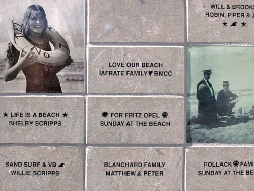 Street Murals by Betsy K. Schulz seen at Del Mar Lifeguards, Del Mar - Bench Mural and Donor Wall
