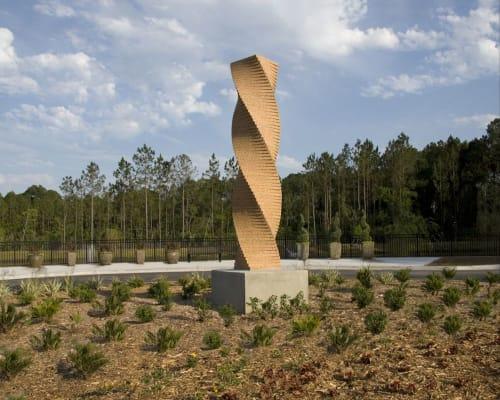"""Public Sculptures by Joe Segal seen at The Arc Jacksonville Village, Jacksonville - """"Gathering"""",  Roundabout  Sculpture"""