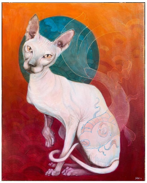 Paintings by Jami Butler seen at Private Residence, Livermore - Cat with a koi tatoo