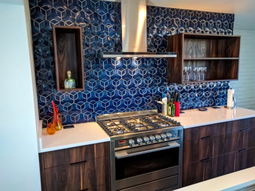 Tiles by ModCraft seen at Private Residence in Scottsdale, AZ, Scottsdale - ModCraft Hexon Tile in Pacific Blue