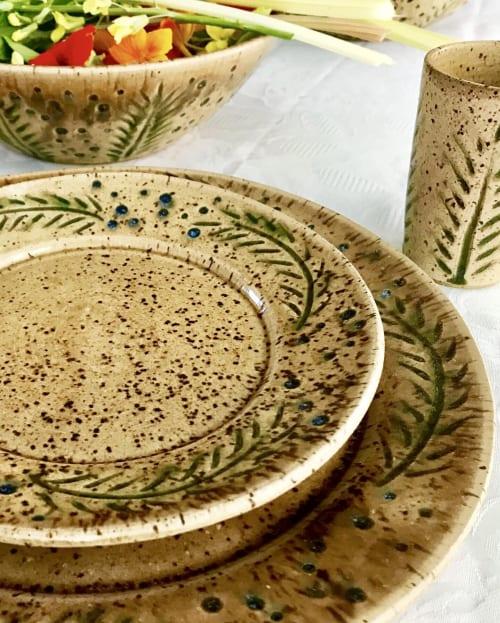 Tableware by Honey Bee Hill Ceramics seen at Gifts At 136, Damariscotta - Rain & Grain Series