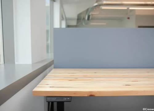Tables by Creoworks seen at AdColony, Inc., Bellevue - Beetle Kill Pine Table