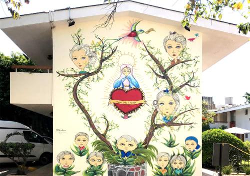 "Murals by Patricia Fornos seen at Private Residence, Guadalajara - ""Un fragmento de histora"""
