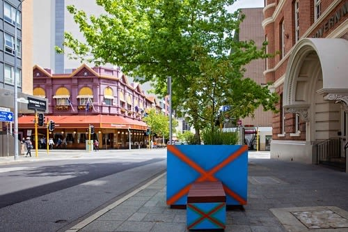 Public Sculptures by reSPOKE Australia seen at Perth, Perth - Street Art Planter Boxes