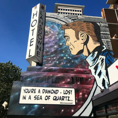 "Street Murals by Rich Simmons Art seen at Croydon, Croydon - ""You're a diamond - Lost in a sea of quartz"" mural"