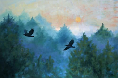 """Paintings by Dara's Fine Art seen at Private Residence, St. Joseph - """"Ravens in Flight"""""""