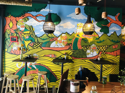Murals by Golden Rabbit Silent Monkey seen at Shaw, Washington - Laotian Monkey Gods Cooking For Buddha