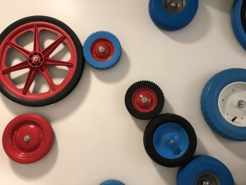 Sculptures by ANTLRE - Hannah Sitzer seen at Argo AI, Palo Alto - Interactive tires wall - For Argo ai, a self driving vehicle company
