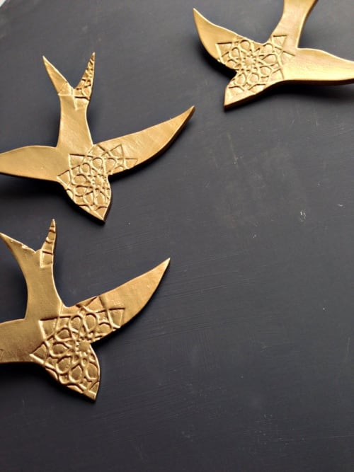 Art & Wall Decor by Elizabeth Prince Ceramics seen at Creator's Studio, Manchester - Swallows  - Moroccan Inspired Design Set of 5