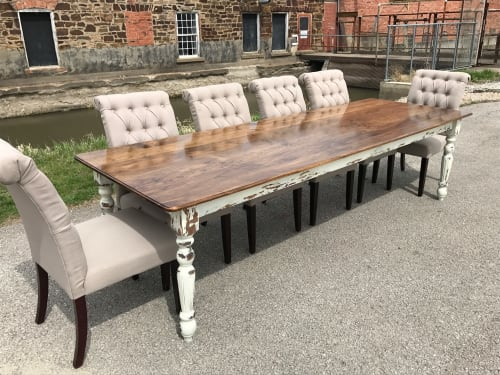 White Distressed Farmhouse Table By Hazel Oak Farms At Private