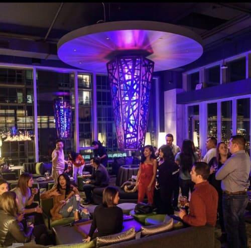 Chandeliers by Phil Proctor | Nucleus Sculpture Studio seen at VU Rooftop Bar, Chicago - Chicago Sculptural Lighting
