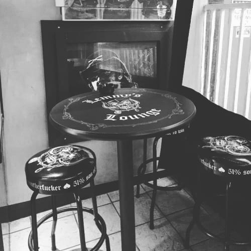 Chairs by Richardson Seating Corporation seen at Rainbow Bar & Grill, West Hollywood - Lemmy Bar Stools