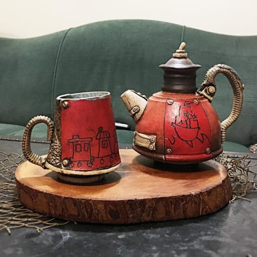 Tableware by Steve Palmer Ceramics seen at Private Residence, Charlottesville - Red Teapot