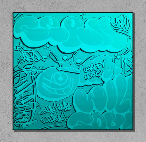 Paintings by ALAN BERMAN a.k.a SEAN1 seen at Private Residence, Miami - Blue Duotone