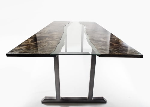 Tables by Lumberlust Designs seen at Private Residence, Paradise Valley - Ebonized Maple Bookmatched River Style Modern Dining Table