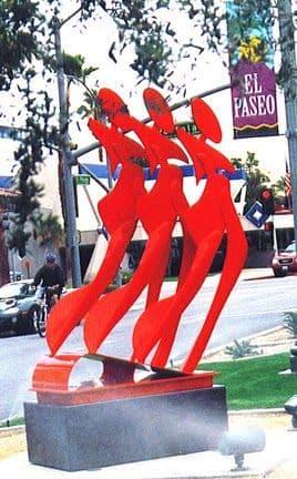Public Sculptures by Richard Warrington seen at El Paseo & Palm Desert Drive North, Palm Desert - Five O'clock People