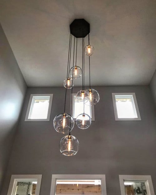 Chandeliers by Dan Cordero seen at Private Residence, Charlotte - Globe Chandelier – Customizable