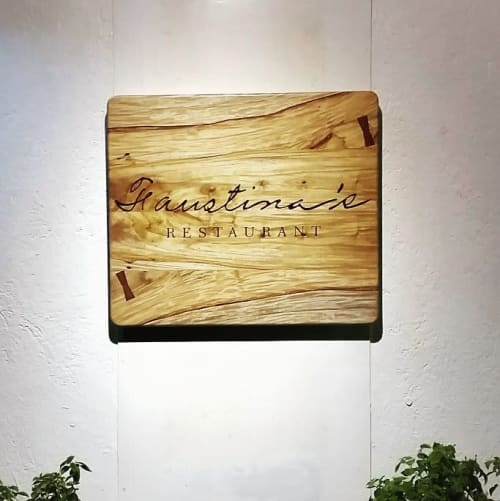 Signage by RCWOODWorks seen at Faustina's Restaurant, Los Baños - Restaurant Wood Signage