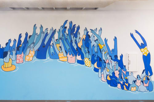 Murals by Alexandra Bowman seen at Park Tower, San Francisco - Ride The Wave