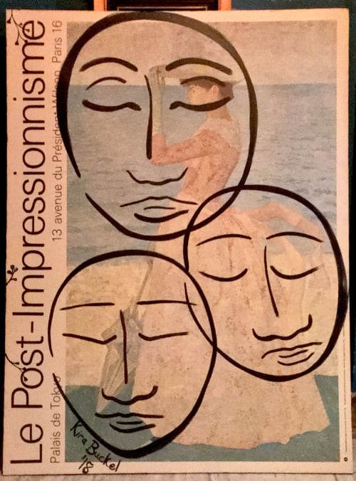 Paintings by Kira Buckel seen at Freehand NYC, New York - Faces Painting on Vintage Poster